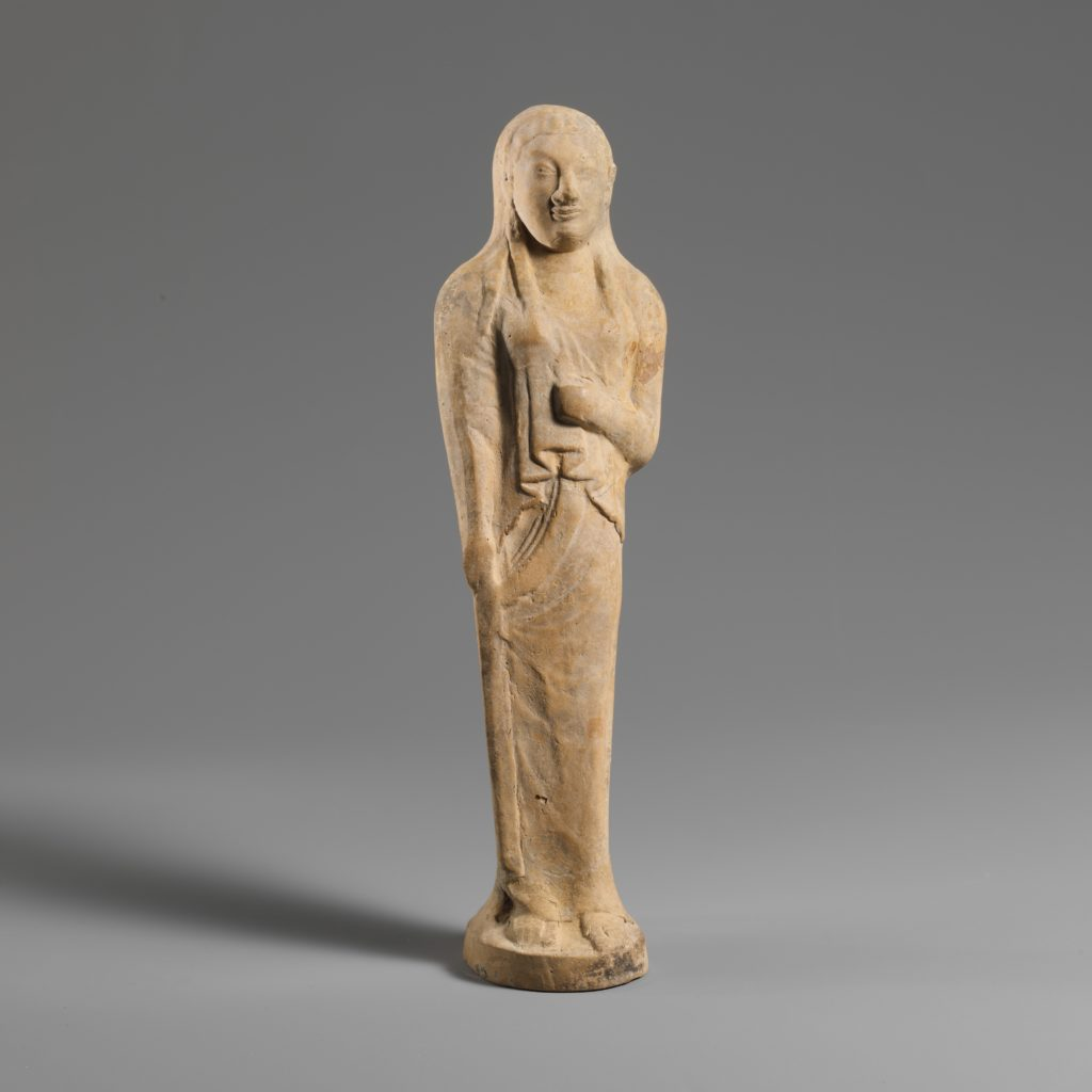 Terracotta statuette of a young woman