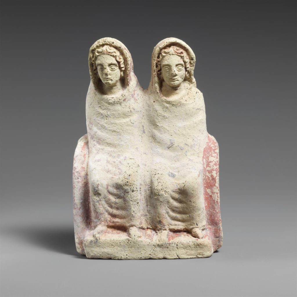 Terracotta votive statuette of two draped females