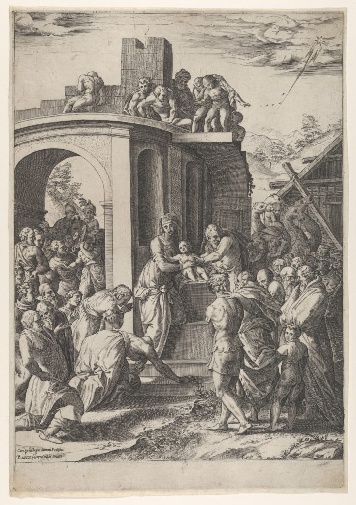 The Adoration of the Magi with the Virgin, Christ Child, and Joseph at center, set against architectural details