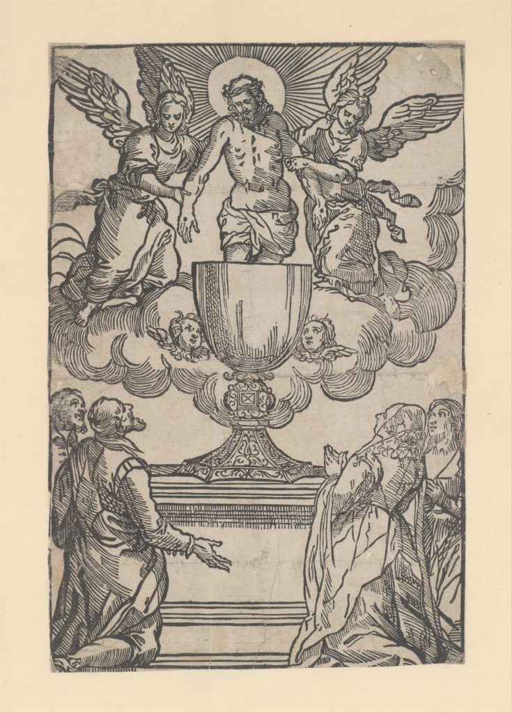 The Triumph of the Eucharist, Christ as the Man of Sorrows supported by two angels standing in a chalice
