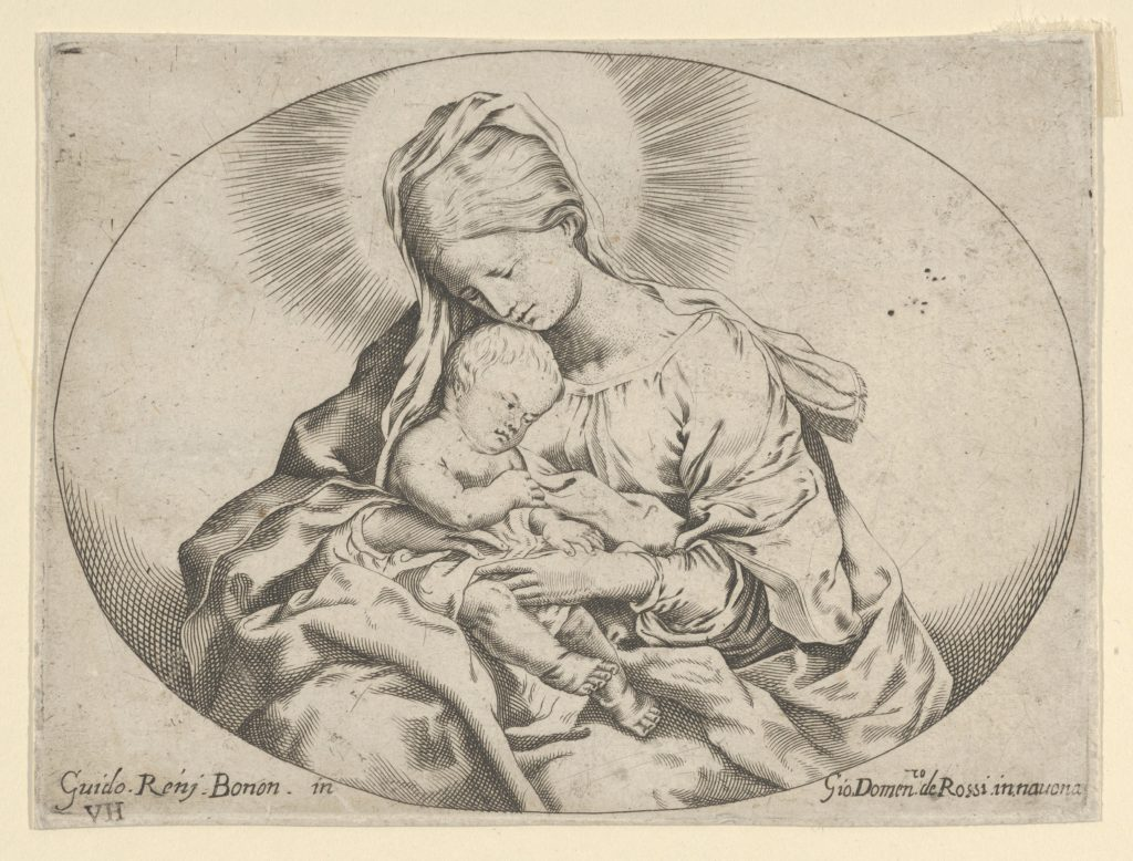 The Virgin holding the infant Christ, an oval composition, after Reni