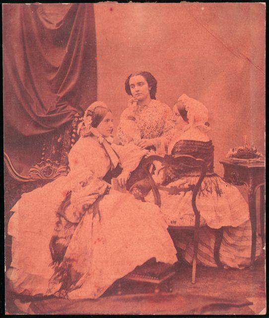[Three Claudet Family Women Seated in Studio]