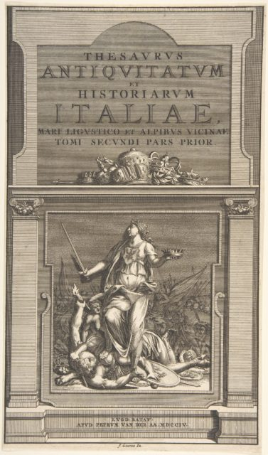 Title Page for the 'Thesavrvs Antiqvitatvm et Historianrvm Italie, Mari Lingvistico et Alpibvs Vicinae Tome Secondi Pars Prior'