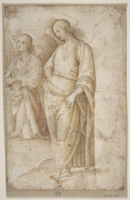 Two Figures of Angels Standing