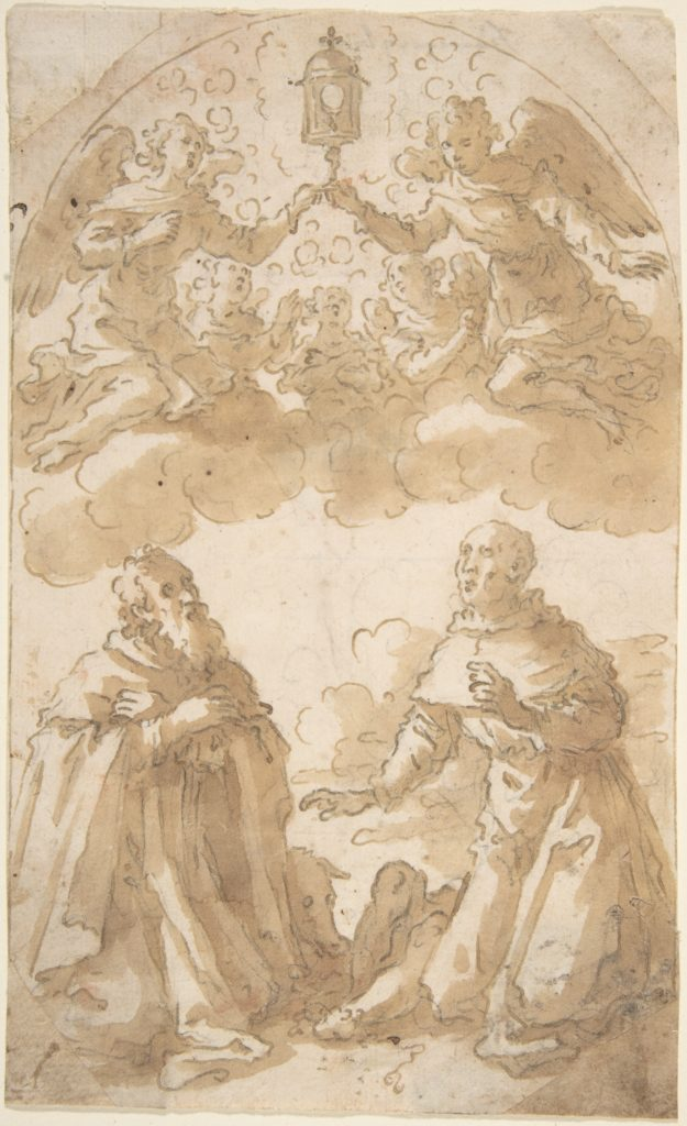 Two Male Saints Kneeling with Angels Holding a Reliquary.