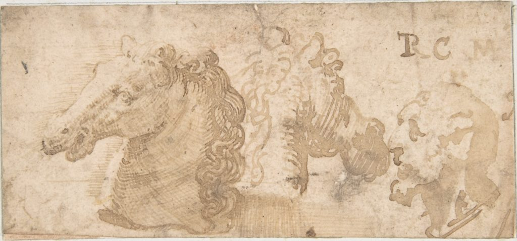 Two Views of a Horse's Head; the Head of a Bearded Man in Profile.