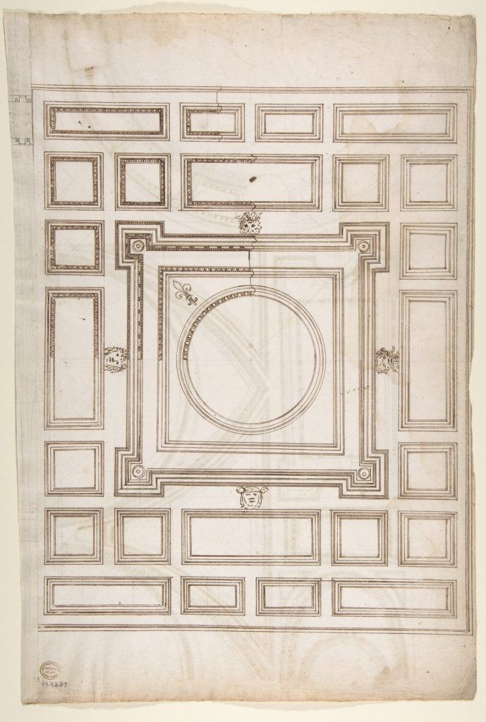 Unidentified, ceiling plan (recto) Palazzo Farnese, ceiling plan (verso)
