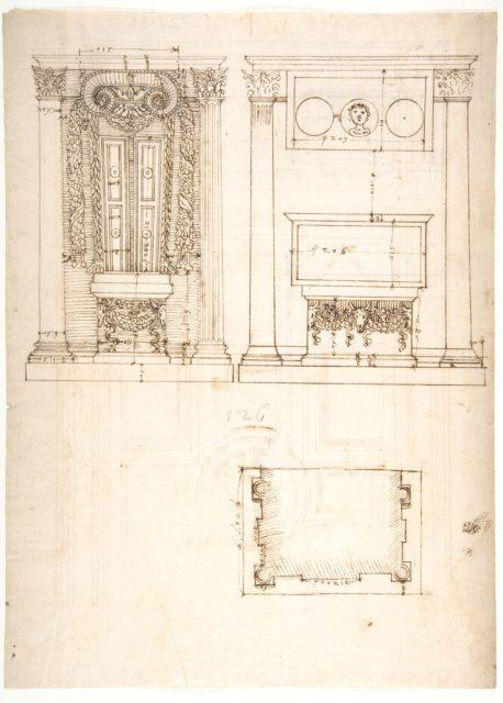 Unidentified, funerary altar, plan and elevations (recto) S. Giovanni Laterano, Oratorio della Santa Croce, paneling, elevation (verso)