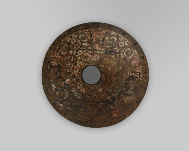 """Vamplate Belonging to an Armor for Field and Tournament Made for Duke Nikolaus """"The Black"""" Radziwill (1515–1565), Duke of Nesvizh and Olyka, Prince of the Empire, Grand Chancellor and Marshal of Lithuania"""