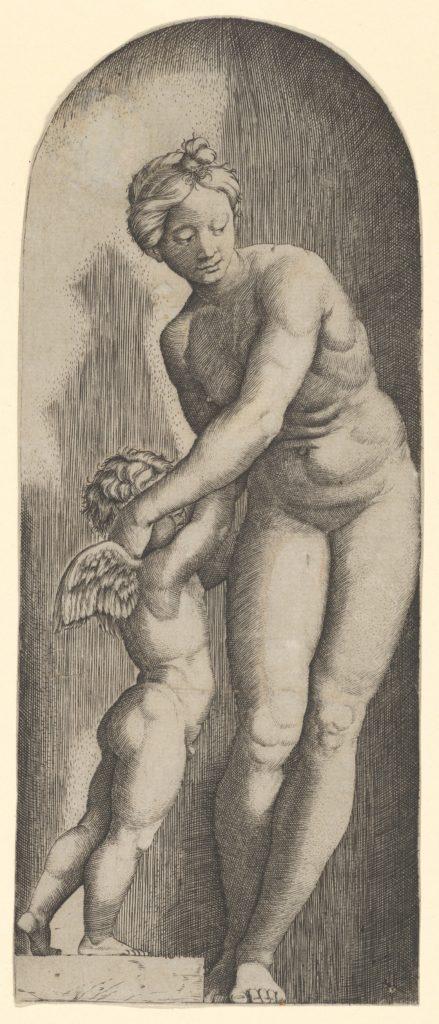 Venus and Cupid standing in a niche
