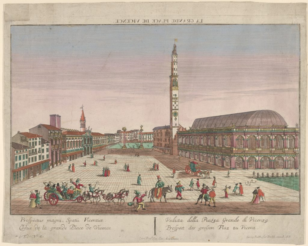 View of the Piazza dei Signori of Vicenza with horse-drawn carriages and figures walking in the square