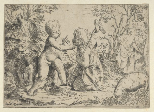 Young Saint John the Baptist kneeling before the infant Christ who caresses his face, the Virgin and Joseph in the background at right, after Reni