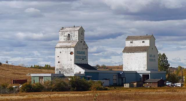 De Winton Alberta.Grain elevators.