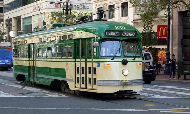 Historic Streetcars in San Francisco No.1051.