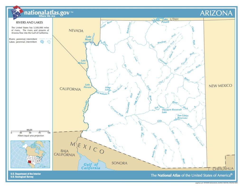 Map of Arizona. Rivers and Lakes. - PICRYL Public Domain Image