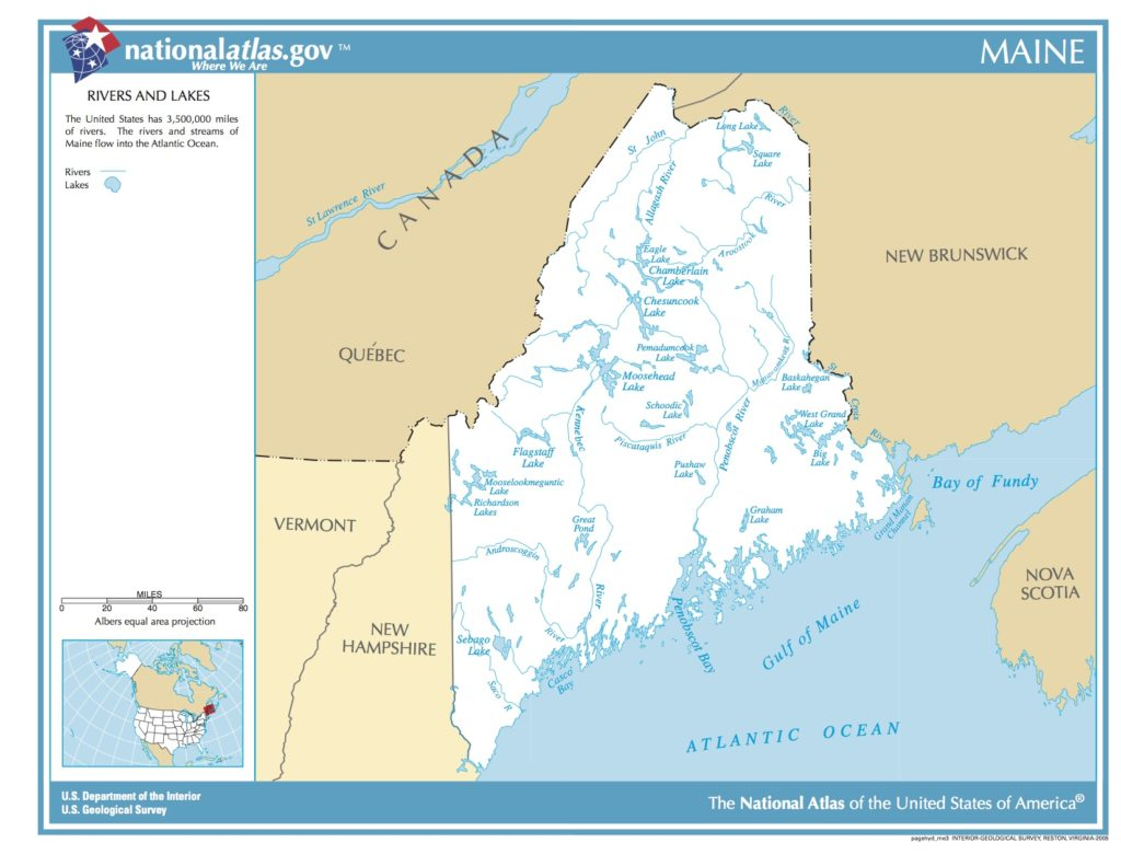 map of maine lakes Map Of Maine Rivers And Lakes Picryl Public Domain Image map of maine lakes
