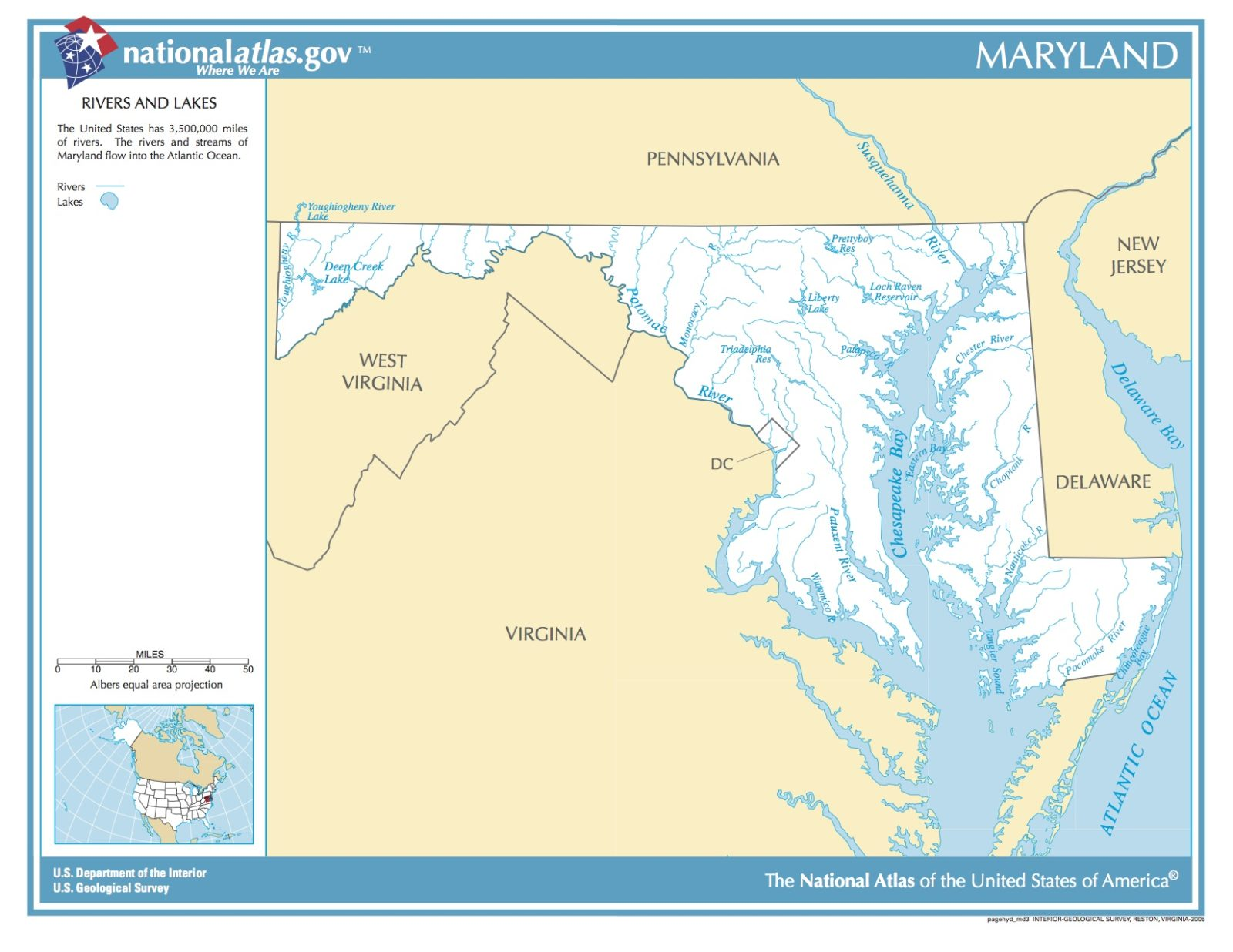 Map of Maryland. Rivers and Lakes.