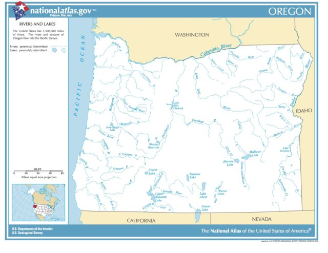 Map Of Oregon Rivers And Lakes Picryl