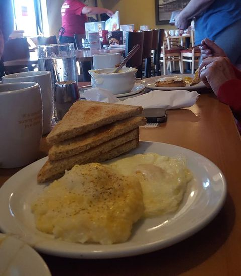 Cheesy Grits and eggs in Rawlins WY.