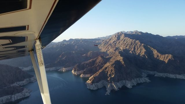 Chris and Mike over Lake Mead just after dawn