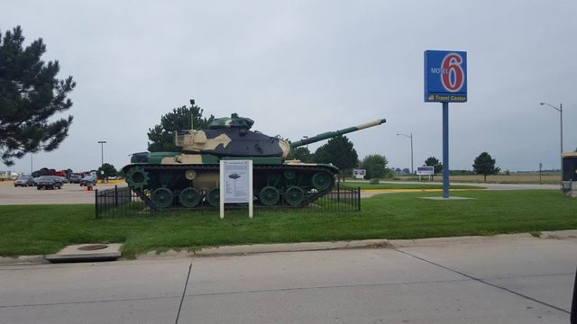 M60 Tank on display at Gas Station