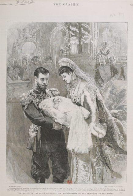 The baptism of the Tzars Daughter. Emperor of Russia Nicholas II and Empress Alexandra Feodorovna