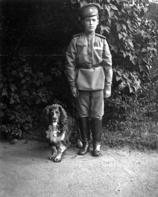 Tsesarevitch Alexei with his dog Joy