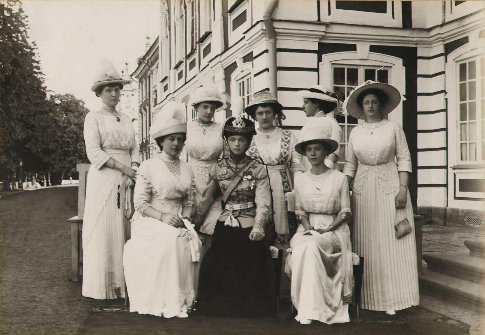 Chief of the 3rd Hussar Elisavetgrad Regiment, daughter of Emperor Nicholas II Grand Duchess Olga Nikolaevna with the wives of officers of the regiment.