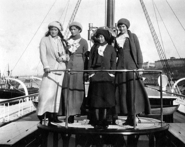 "Daughters of Emperor Nicholas II Grand Princess Mary, Olga, Anastasia and Tatiana on board the Imperial yacht ""Standart"". 1914 year."