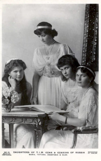 Daughters of Emperor Nicholas II Grand Princess Mary, Tatiana, Anastasia and Olga.