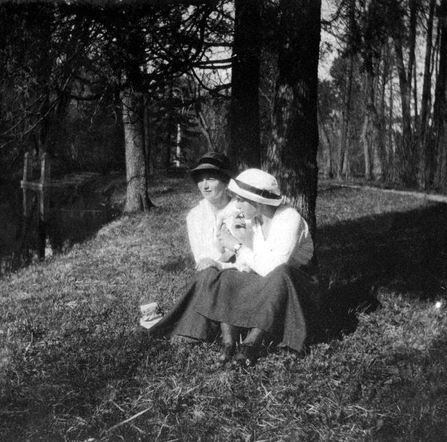 Daughters of Emperor Nicholas II Grand Princess Olga (left), to the right (?). Tsarskoe Selo. 1917 year.