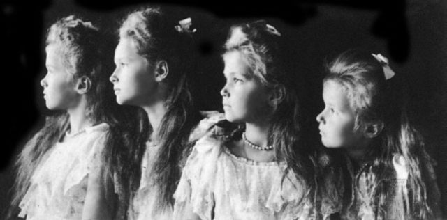 Daughters of Emperor Nicholas II Grand Princess Olga, Tatiana, Maria and Anastasia.