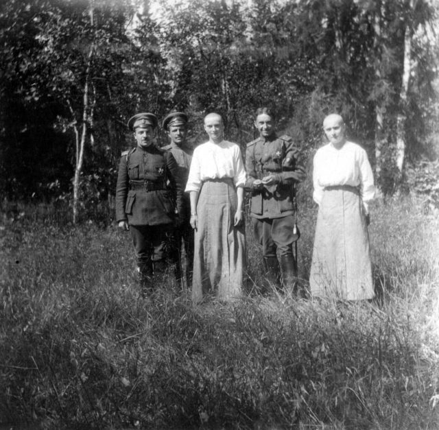 Daughters of Emperor Nicholas II Grand Princesses Olga (?) Nikolaevna (right) and Tatyana Nikolayevna on a walk in the park of Tsarskoe Selo.June of 1917.