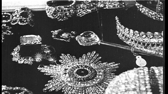 Display of the Russian Crown jewels, including crowns, bracelets, rings and other...HD Stock Footage