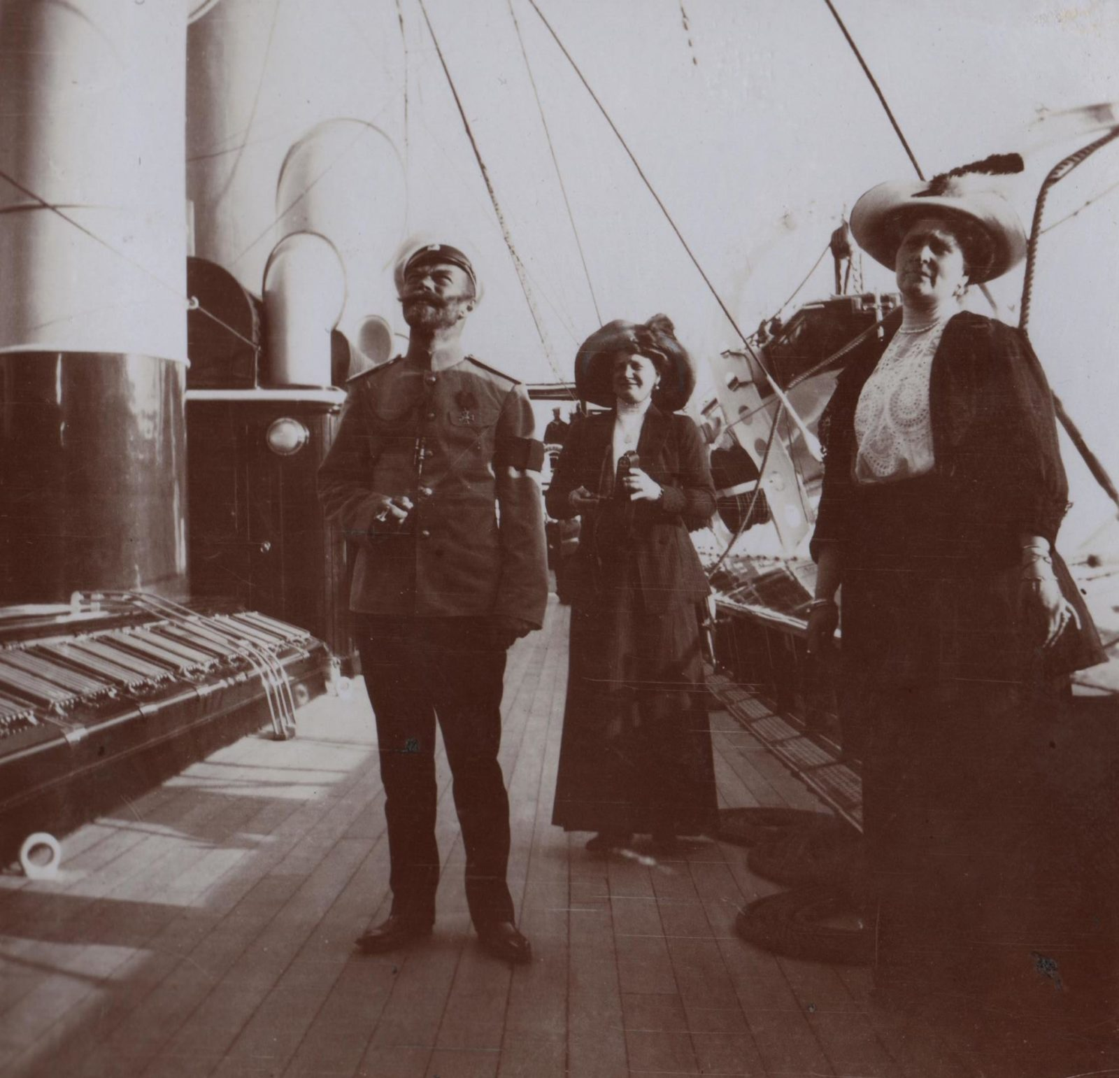 "Emperor Nicholas II and Empress Alexandra Feodorovna aboard the Imperial yacht ""Standart""."