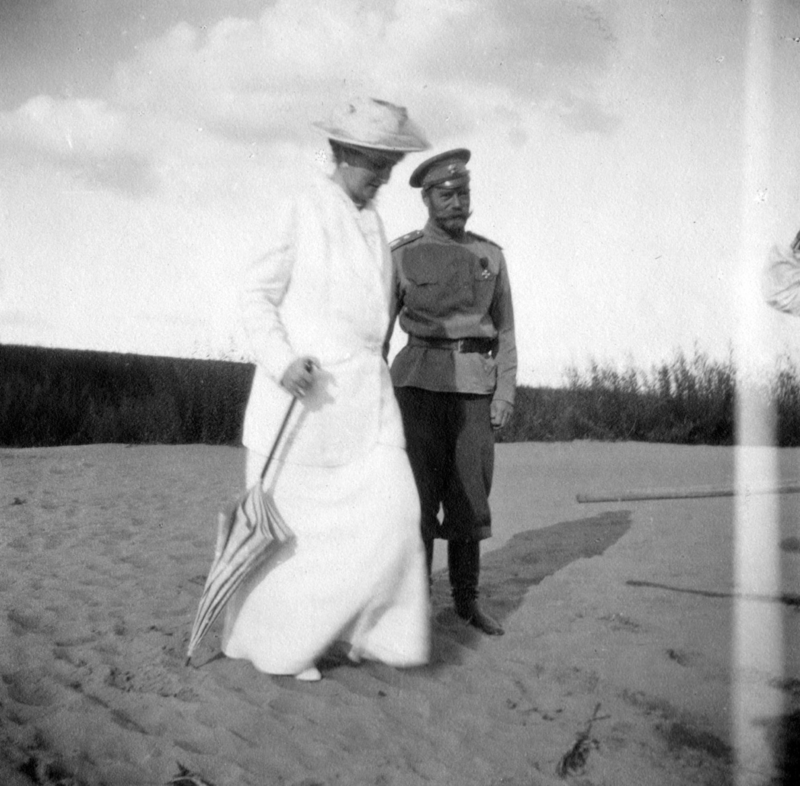 Emperor Nicholas II and Empress Alexandra Feodorovna on a walk. Summer 1916. Near Mogilev.