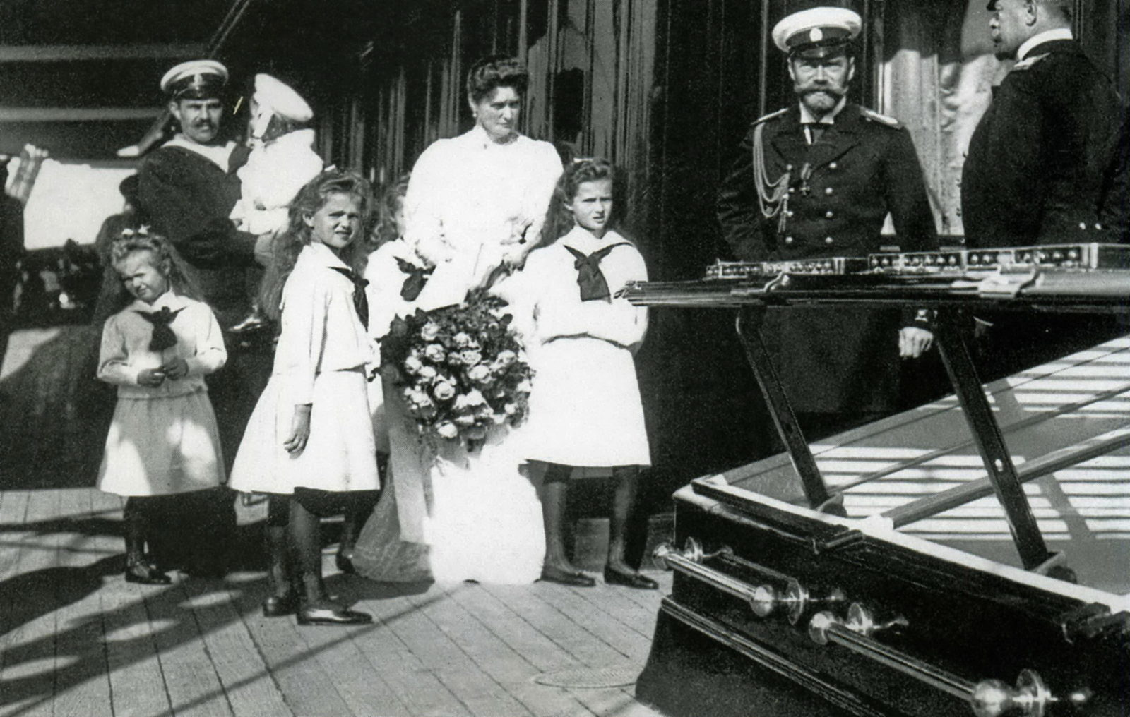 "Emperor Nicholas II and Empress Alexandra Feodorovna with children on the deck of the yacht ""Standart""."