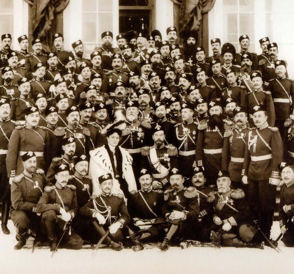 Emperor Nicholas II and Empress Empress Alexandra Feodorovna with officers of one of the grenadier regiments (?).
