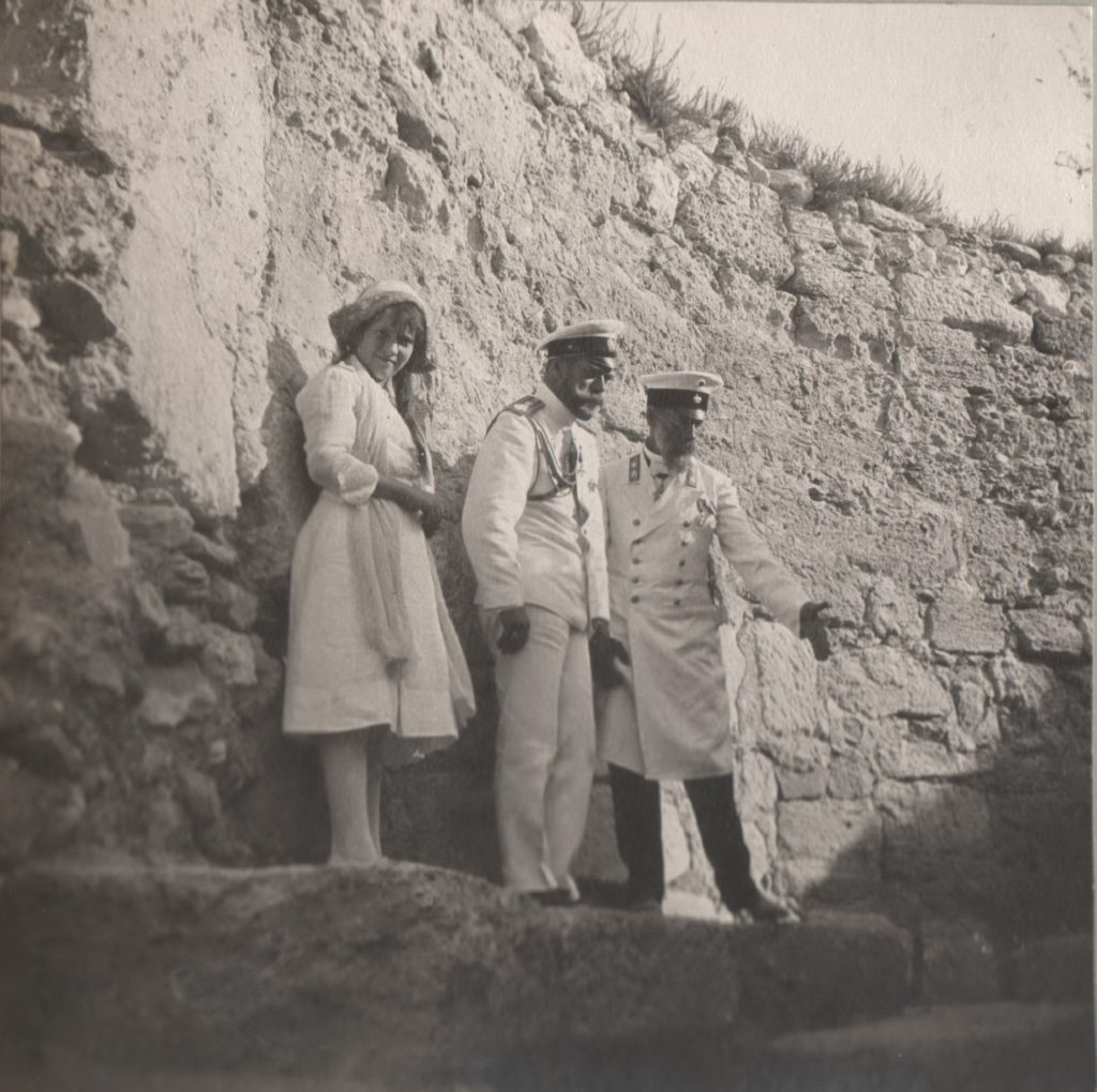 Emperor Nicholas II and Grand Duchess Anastasia Nikolayevna on a walk. Crimea.
