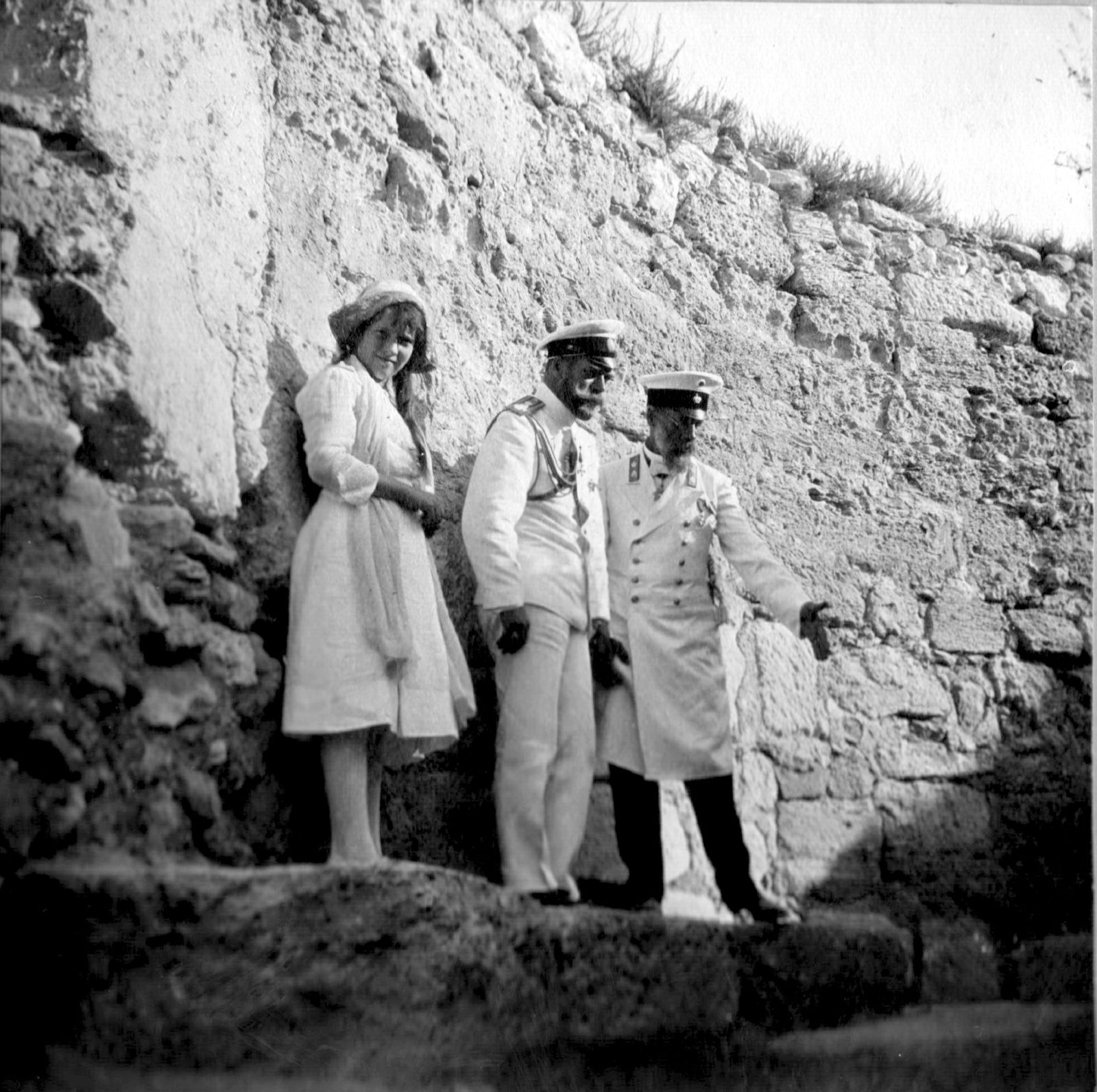 Emperor Nicholas II and Grand Duchess Anastasia Nikolayevna on a walk. Crimea.