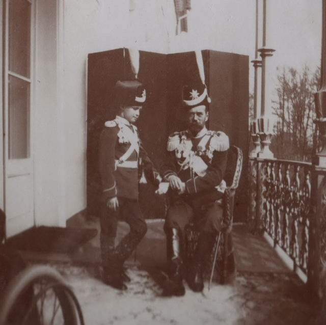 Emperor Nicholas II and Tsarevich Alexei on the balcony.