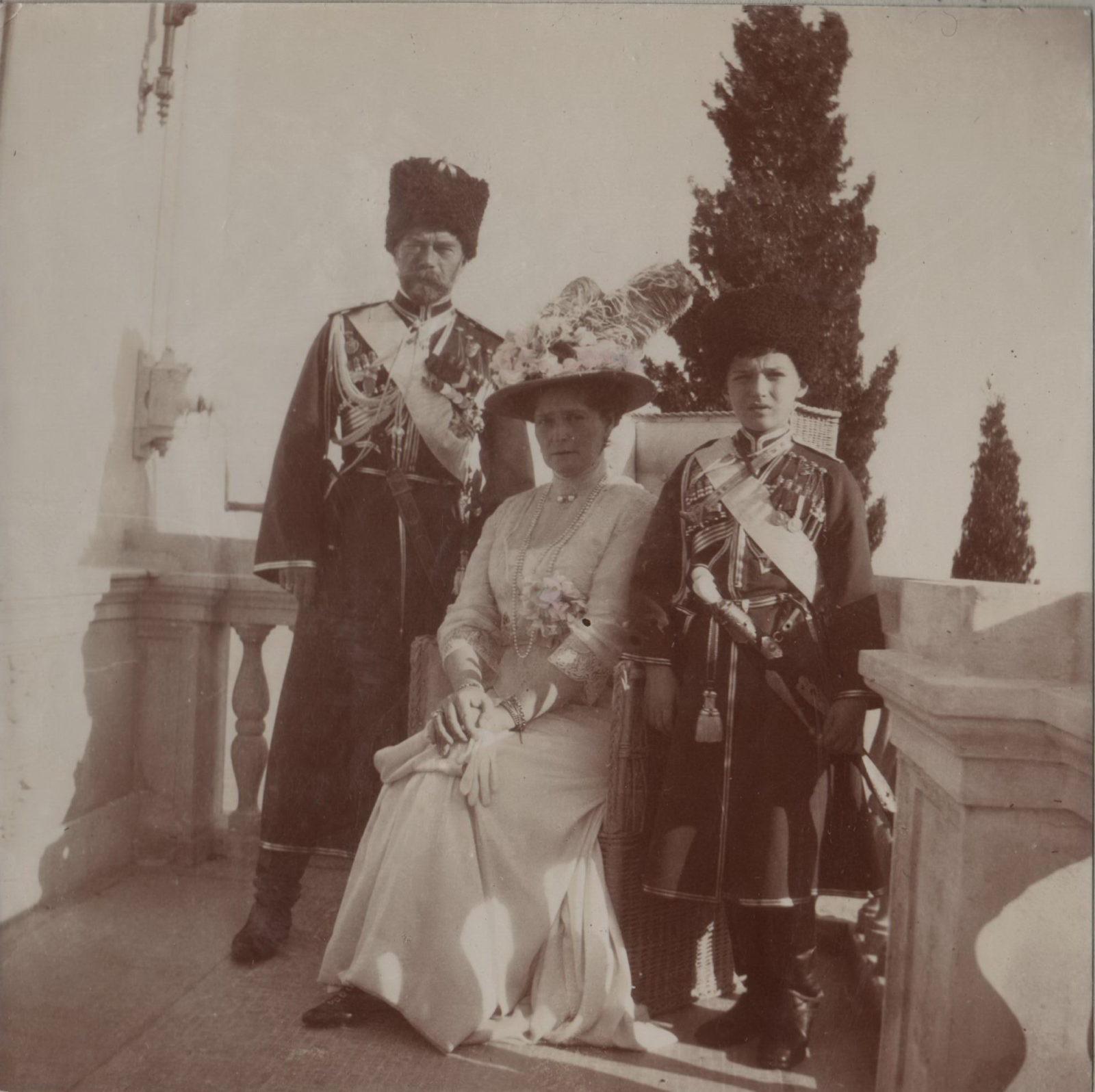 Emperor Nicholas II, Empress Alexandra Feodorovna and Tsarevich Alexei Nikolayevich on the balcony of the Livadia Palace.