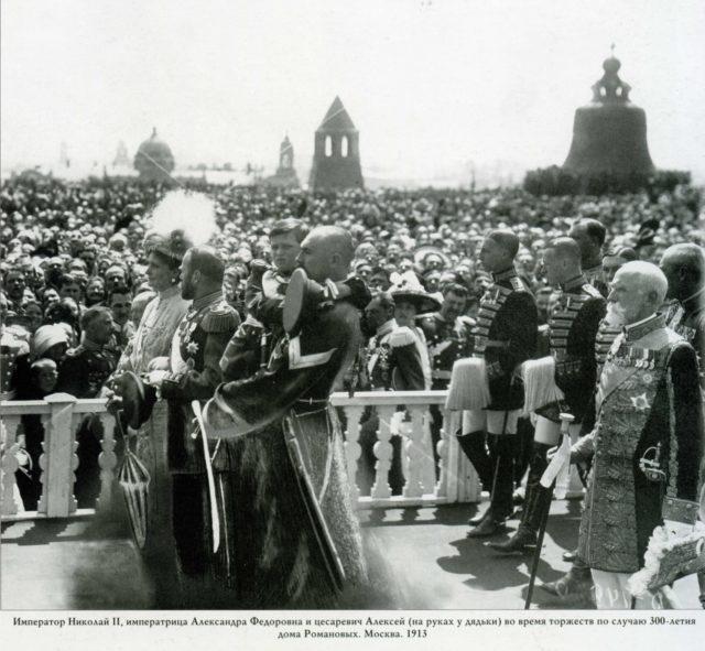 Emperor Nicholas II, Empress Alexandra Feodorovna and Tsarevich Alexei Nikolayevich. Moscow, 1913.