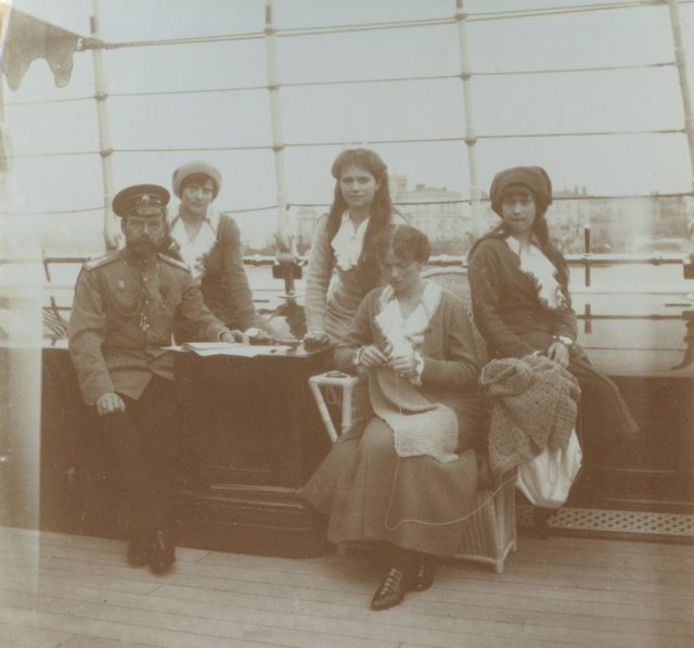 "Emperor Nicholas II with his daughters on the deck of the yacht ""Standart""."