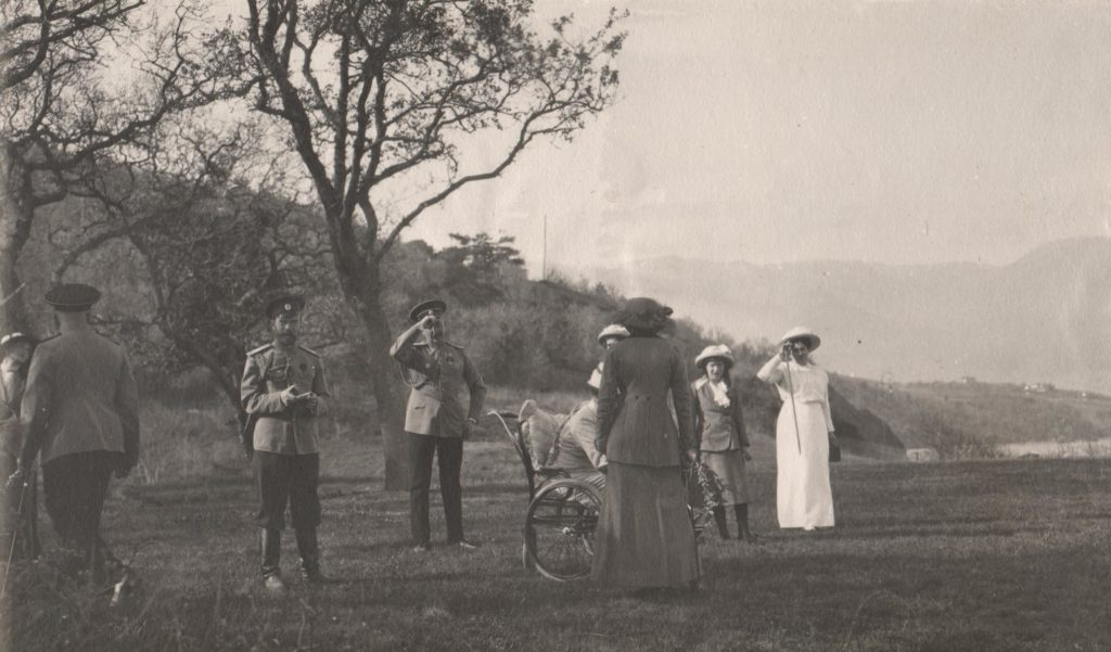 Emperor Nicholas II with his family for a walk.