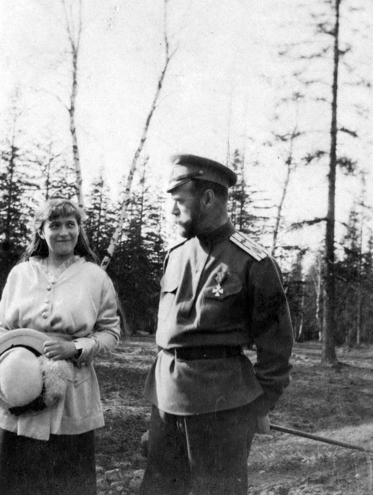 Emperor Nicholas II with the daughter of Grand Princess Anastasia Nikolaevna during a walk.Tsarskoe Selo. Spring 1916.