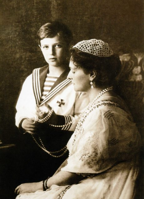 Empress Alexandra Feodorovna and heir to the Russian throne Tsesarevich Alexei Nikolaevich.