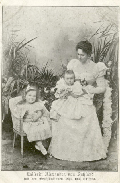 Empress Alexandra Feodorovna with her daughters Grand Duchess Olga and Tatyana.