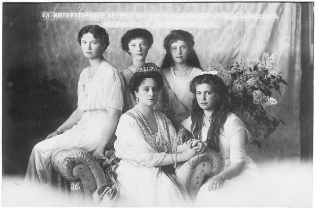 Empress Alexandra Feodorovna with her daughters Grand Duchess Olga, Tatiana, Maria and Anastasia.