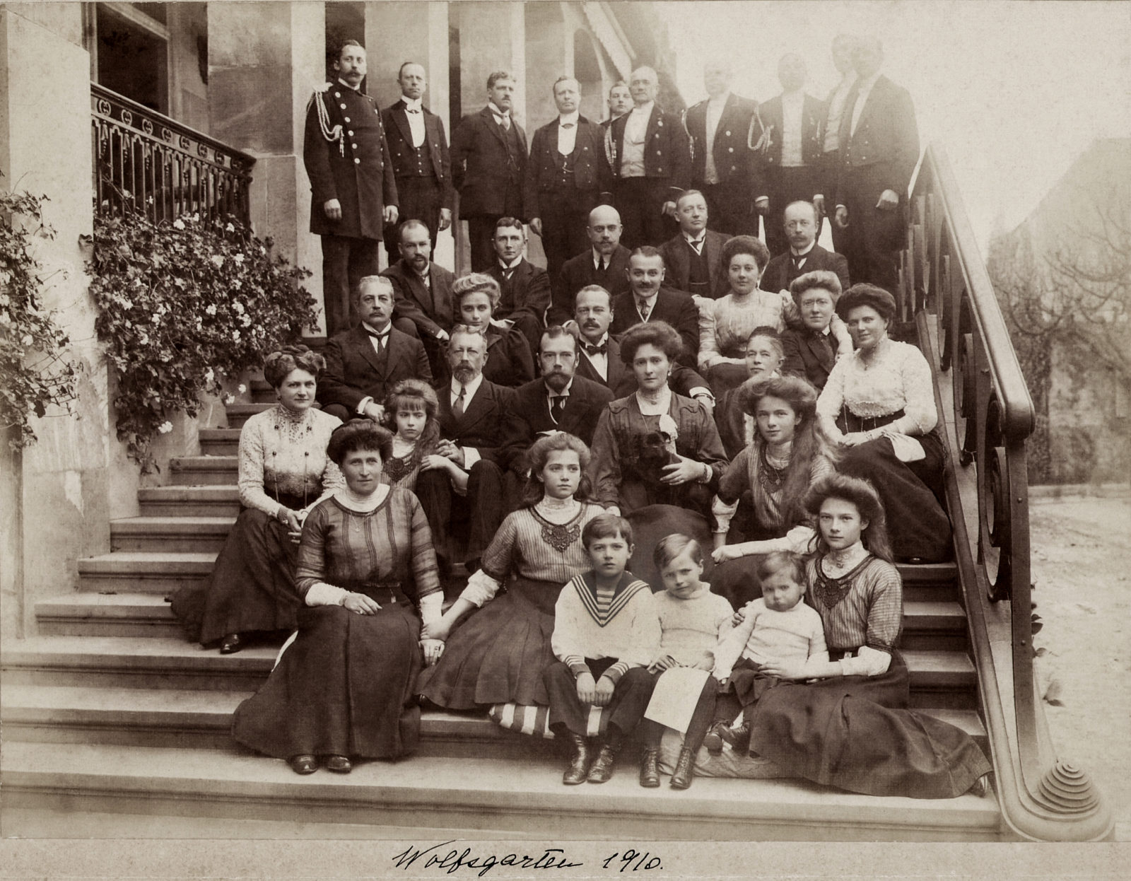 Family of Emperor Nicholas II visiting his Hessian relatives. On the steps of the Wolfsgarten palace. Darmstadt. The year 1910.